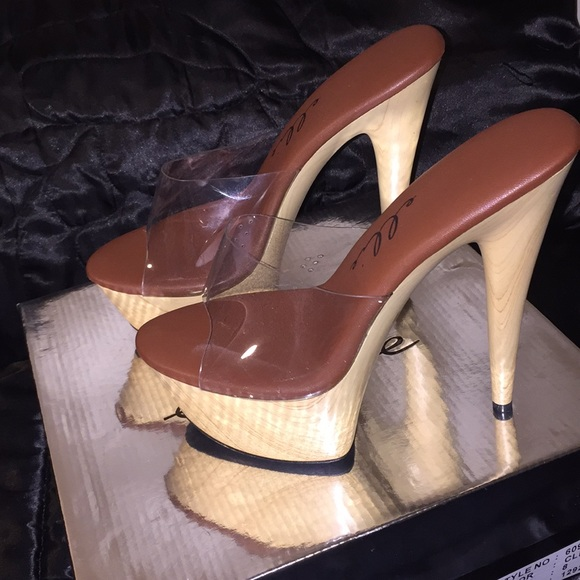 7def9143647d Ellie Shoes - 6 inch Pointed Stiletto Mule With Wood Bottom Heel